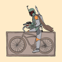 Boba Fett riding a bike that is frozen in carbonite, 5x5 print