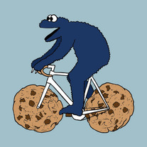 Cookie Monster on bike wih chocolate chip cookie wheels, 5x5 print