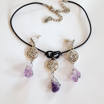 Black leather cord choker pentagram charm amethyst wrapped crystal necklace earring set witchy