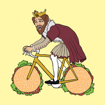 Burger King guy riding bike with hamburger wheels, 5x5 print