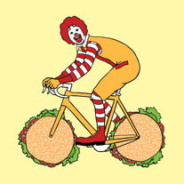 Ronald McDonald on bike with hamburger wheels, 5x5 print