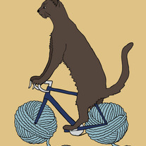 Cat riding bike with yarn ball wheels, 5x7 print