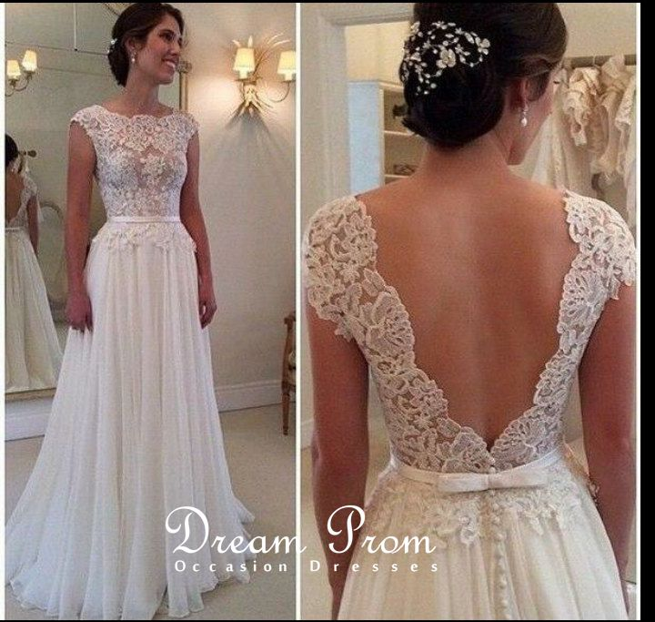 Elegant Ivory Open V Neck Lace Long Prom Dresswedding Dressformal