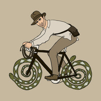 Indiana Jones riding bike with snake wheels, 5x5 print