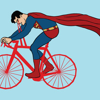 Superman riding heat vision bike, 5x7 print