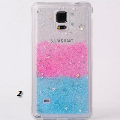 Galaxy note 4 - pastel rainbow glitters stars clear case in assorted colors