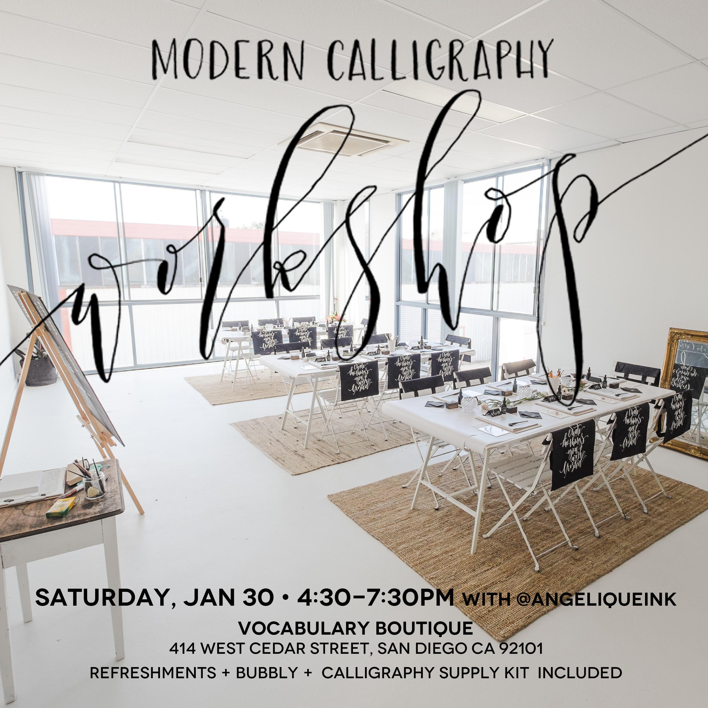 Jan 30 San Diego Modern Calligraphy Workshop