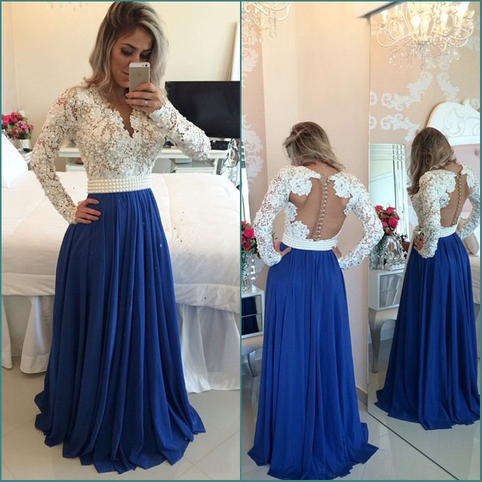 White Lace Royal Blue Skirt Long Prom Dresses,Long Sleeves V Neck ...
