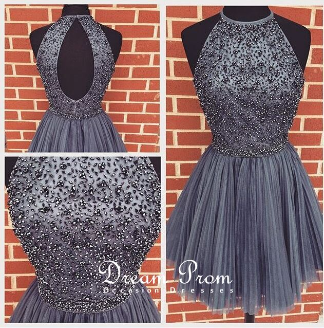 Lovely Dark Gray A-line Tulle Beading Short Prom Gown,Homecoming ...