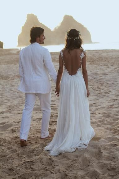 Backless lace wedding dress open back beach wedding for Cheap ivory wedding dresses