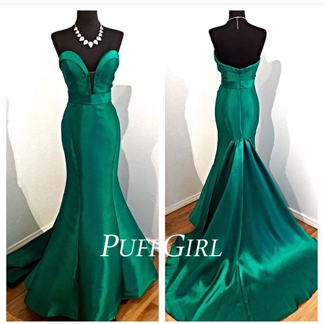 Dark Green Satin Plunging Sweetheart Mermaid Formal Gown · puffgirl ...