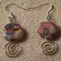 Colorful Turquoise Coin & Open Silver Swirl Earrings