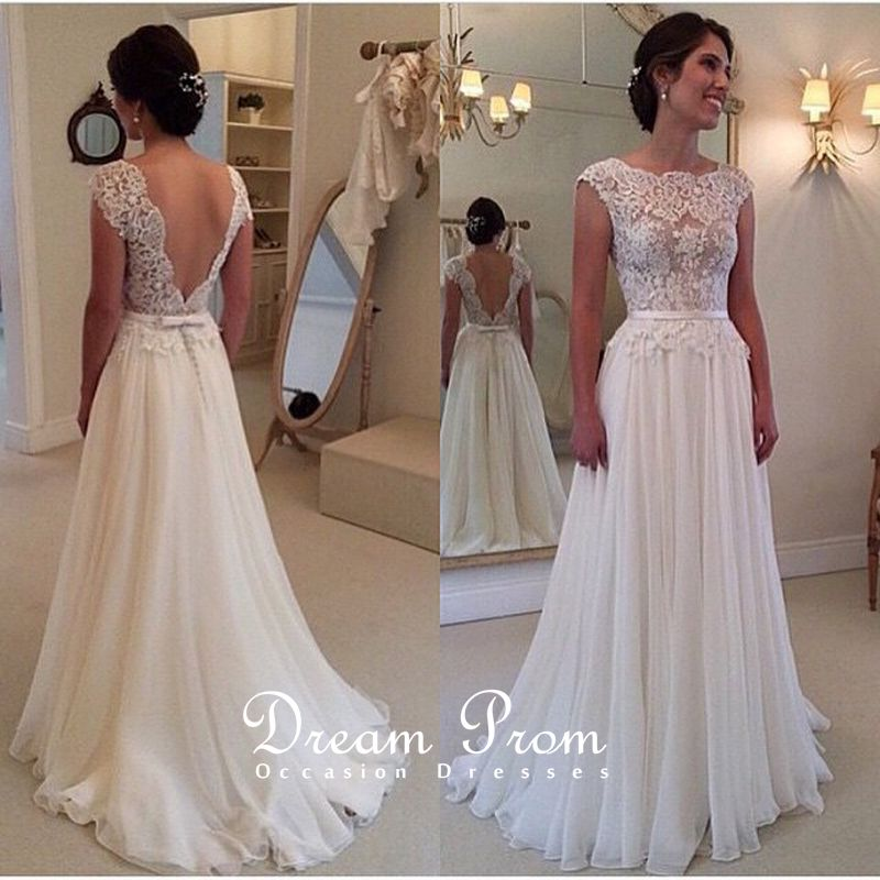 Elegant Ivory Open V neck Lace Long Prom Dress,Wedding Dress ...
