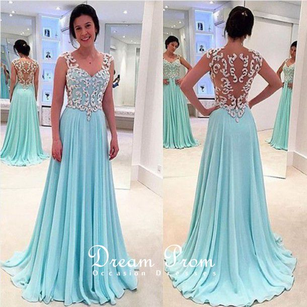Chic Light Blue See-through Long Lace Prom Dresses,Evening Dress ...