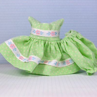 Special edition dress & panty set-light green dotted swiss