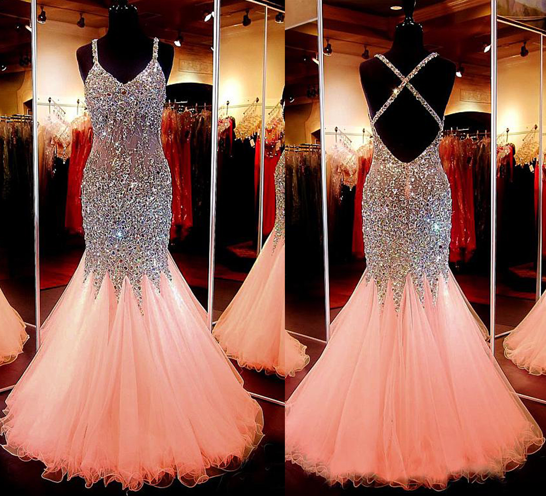 New Arrival Spaghetti Strap Tulle with Beaded Mermaid Sparkly Prom ...