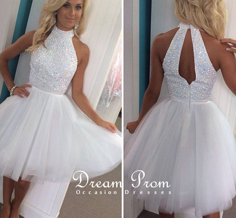 Cute White A-line Beading Tulle Short Prom Dress,Homecoming Dress ...