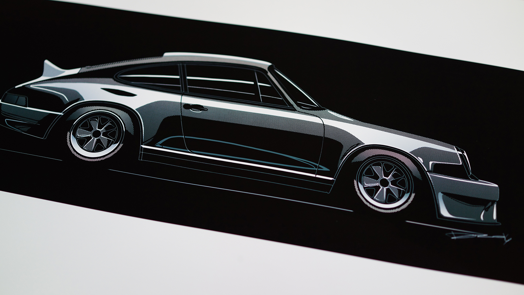 b w porsche 911 sideview 20 piece limited run dsalnidrawn online store powered by storenvy. Black Bedroom Furniture Sets. Home Design Ideas
