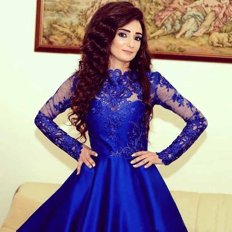 Formal Dress | Stylish Royal Blue Long Sleeve Homecoming Dress ...