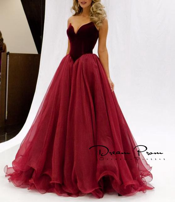 Sweetheart A-line Red Stain+tulle Long Prom Dress,Evening Dresses ...