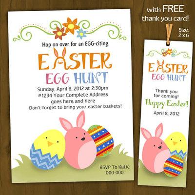 easter egg hunt invitation printable easter invitation easter party invitation with free thank - Easter Party Invitations