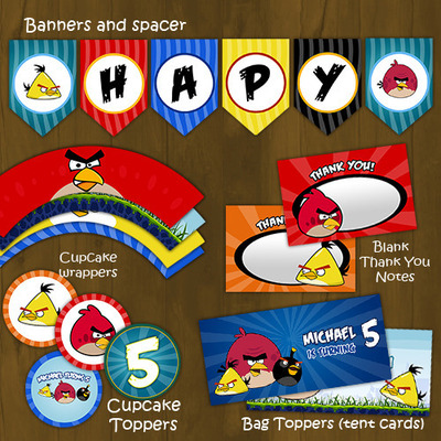 Angry birds printable birthday party decorations package diy set