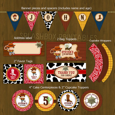 Cowboy party printable birthday party decoration diy package - wild wild west farm boy themed set - yeehaw - cowboy party