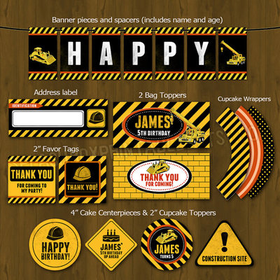 Construction party printable birthday party decorations diy package - heavy construction equipment themed set