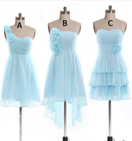 Ice Blue Short Chiffon Bridesmaid Dresses,Simple Cheap ...