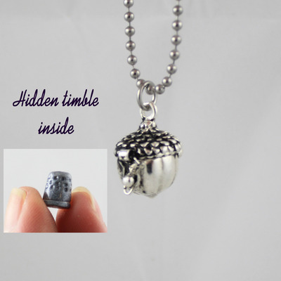 "Peter pan and a kiss ""acorn & thimble"" prayer box necklace - captain hook - tink - never never land"