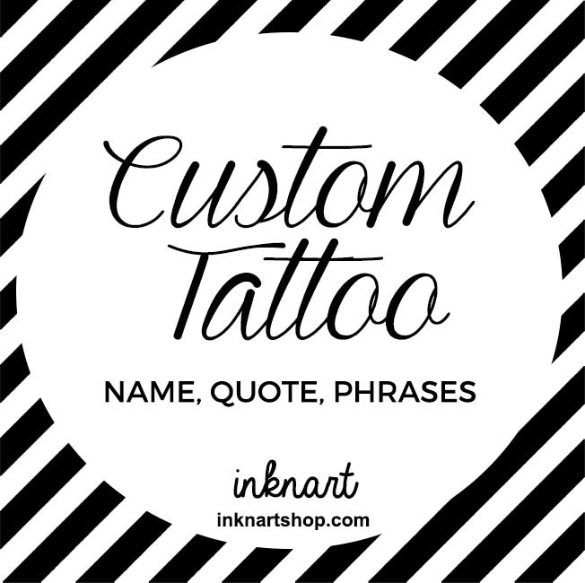 Set Of 2 Custom Order Name Quote Phrase Initial Calligraphy Temporary Tattoo Personalized