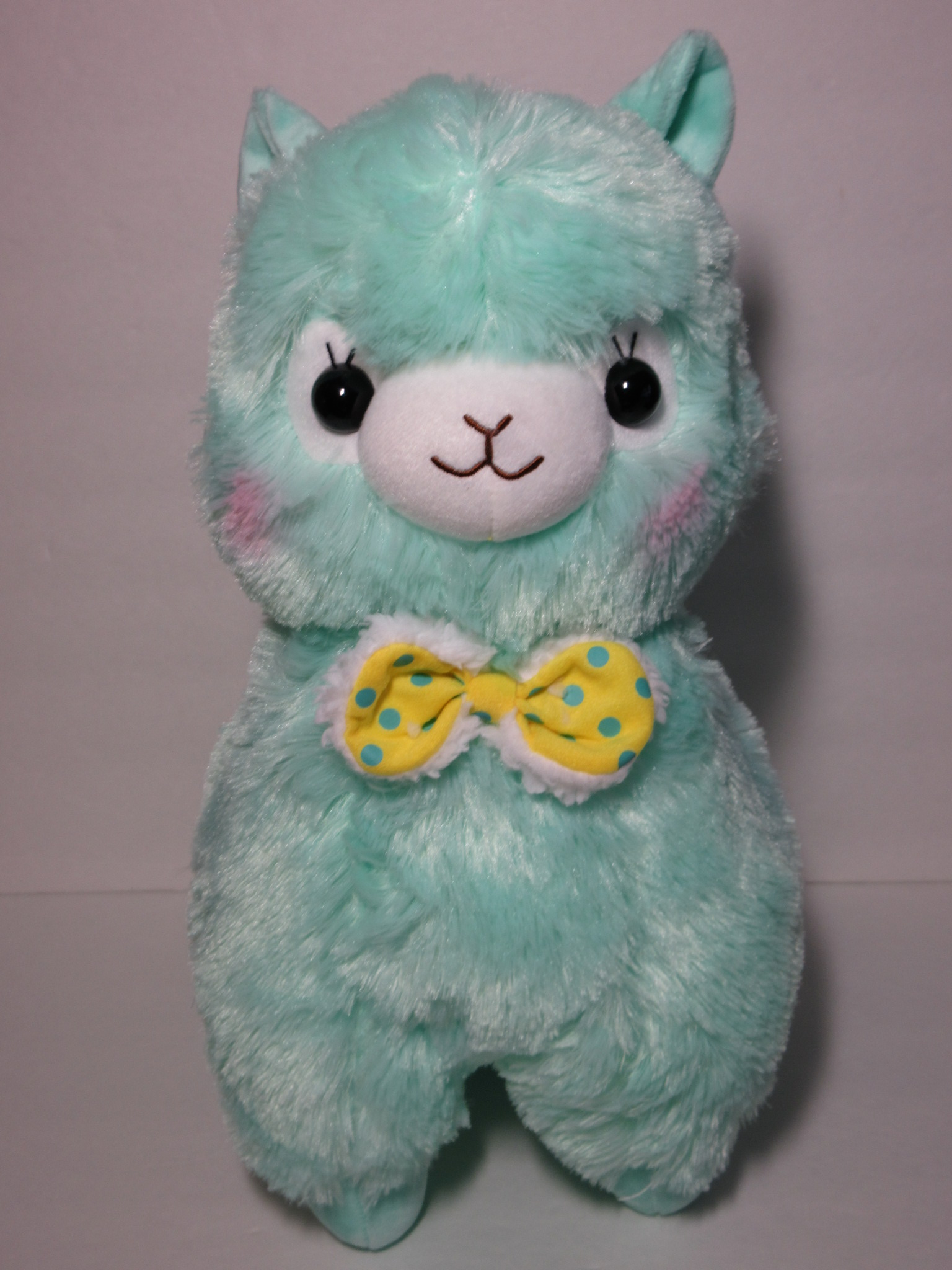 """Mokomoko Ribbon"" Alpacasso Blue Alpaca Yellow Ribbon 45cm ..."