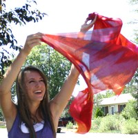 Red and Violet Silk Ikat Scarf - Thumbnail 1