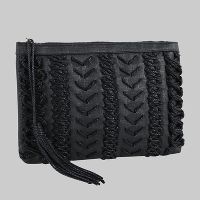Karlie rope clutch (black) by melie bianco