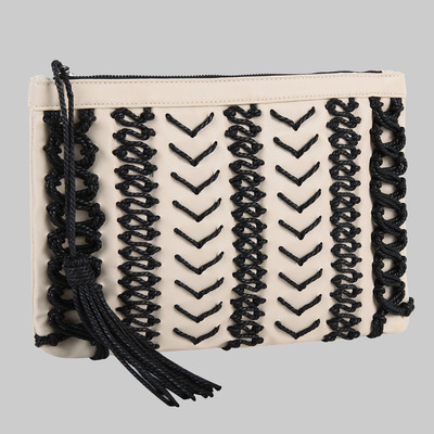 Karlie rope clutch (ivory) by melie bianco