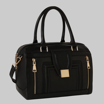 Pauline three textured satchel (black) by melie bianco