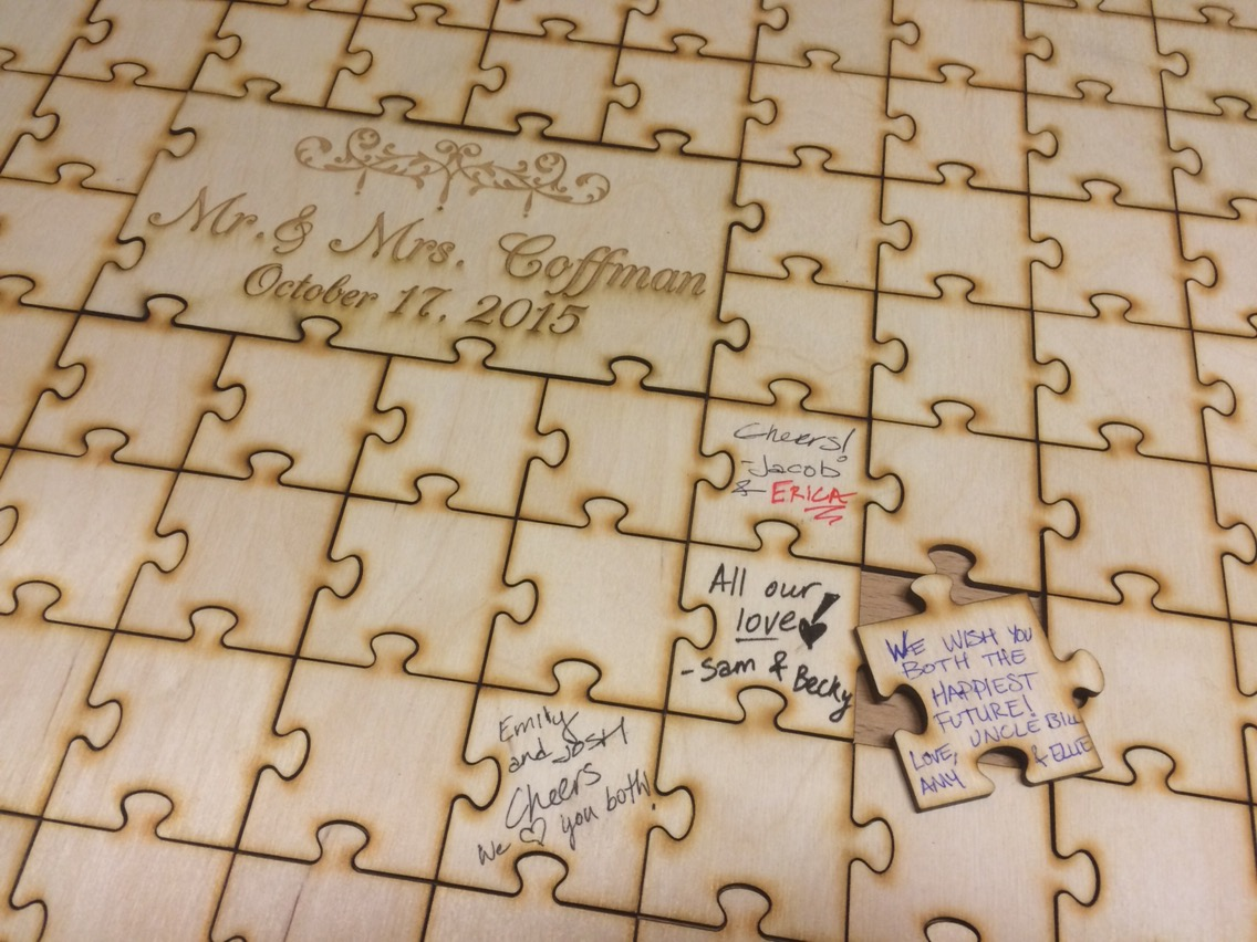 center engraved blank wooden puzzle guest book alternative