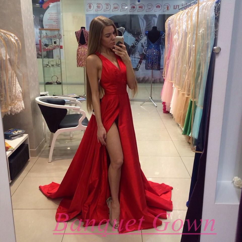2016 New Arrival Long Red Prom Dresses Satin A-Line V-Neck ...