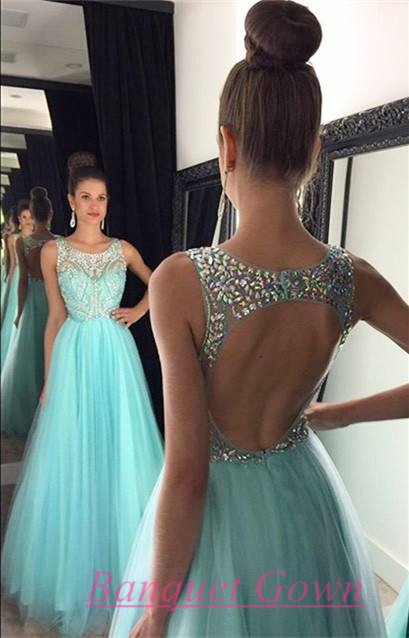 2016 Ball Gown Baby Blue Prom Dresses Rhinestones Beaded Backless ...