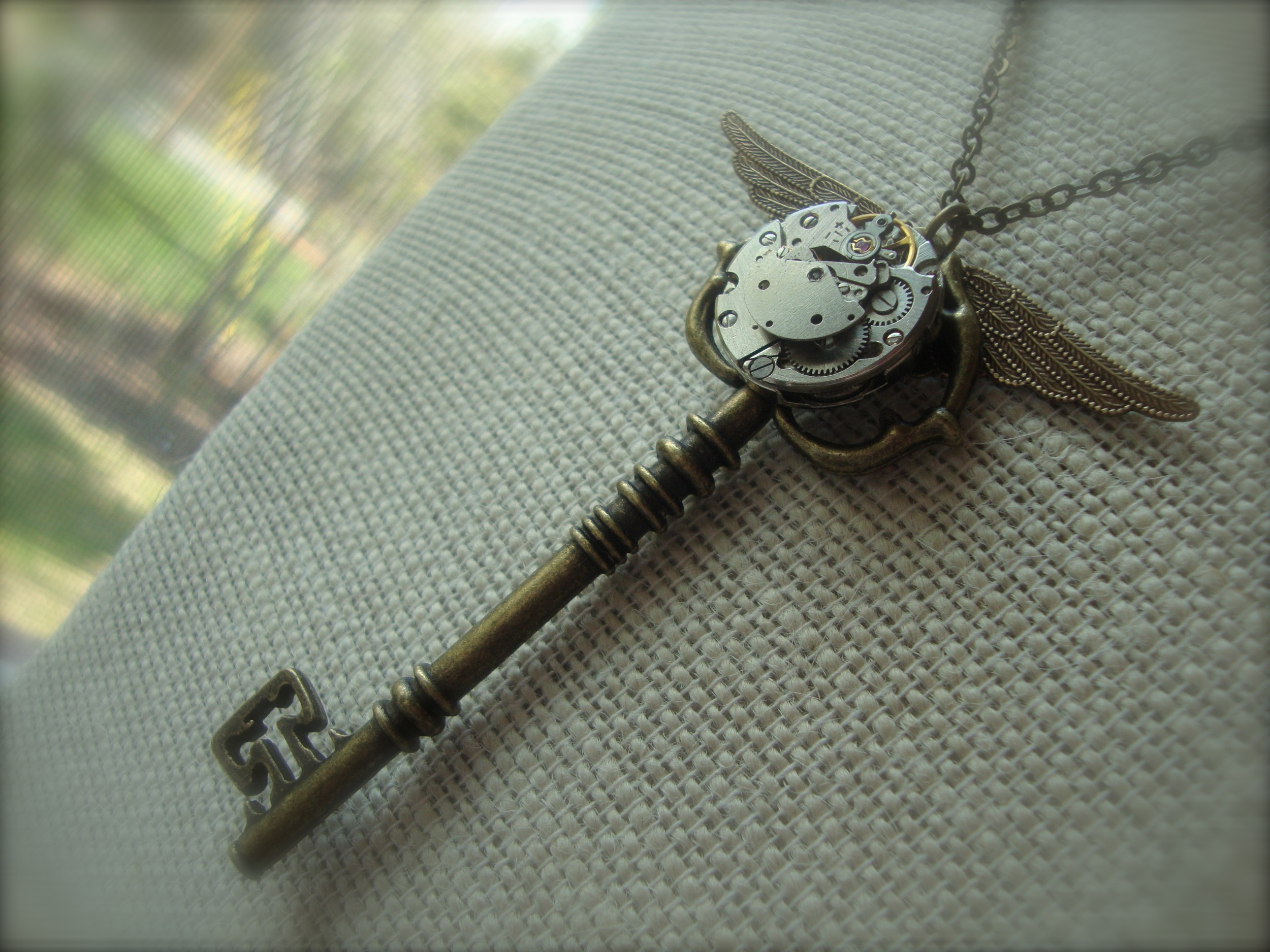 The Flying Key Harry Potter Inspired Steampunk Skeleton Key Necklace With Vintage Watch Movement Sorcerers Stone Handmade From Jetaimeboutique