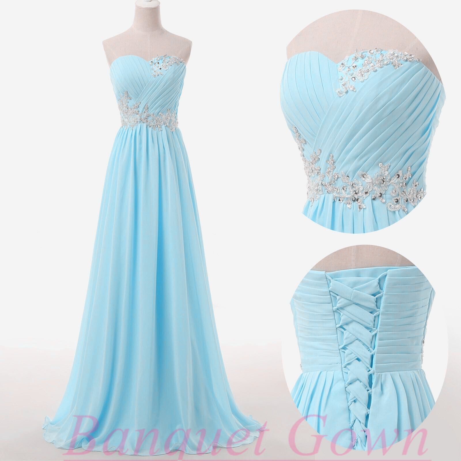 2016 Modest Sweetheart Sky Blue Chiffon Prom Dresses Beading Mint ...