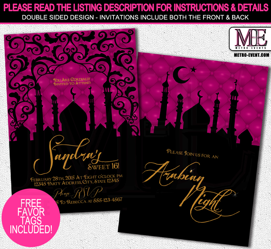 Arabian nights sweet 16 birthday party invitation printed arabian nights sweet 16 birthday party invitation printed invitations or digital file filmwisefo