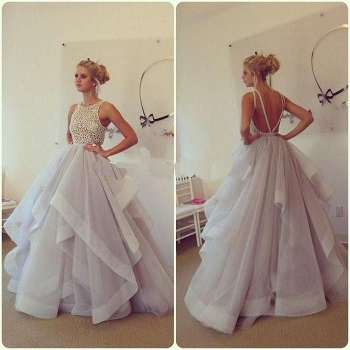 Ivory Lace Lavender Backless Long Prom Gowns,High Low Puffy Ball ...