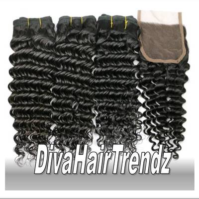 "22"", 24"", & 26"" brazilian deep wavy hair  [3 bundles + closure] *new*"