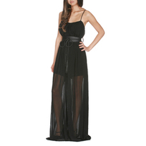 Sheer Black Long Maxi Dress Skirt Belt Detail M