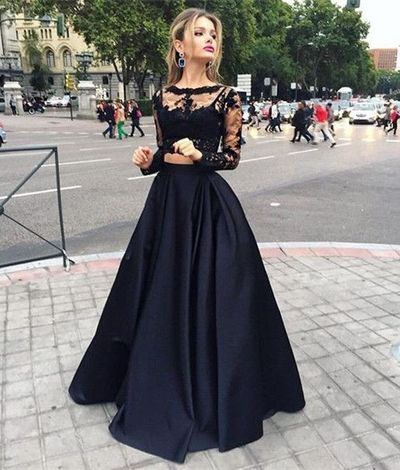 Top Selling Long Sleeves Prom Dresses,Black Lace Evening Dresses ...