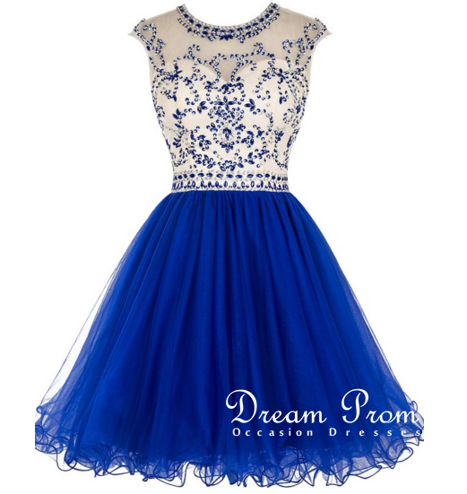 Cute Maroon prom dressnavy bllue A-line round neck short prom ...