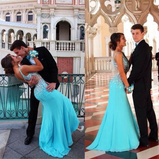 Blue prom dress, off shoulder prom dress, formal prom dress, v-neck ...