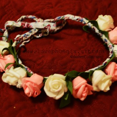 White and pink floral crown