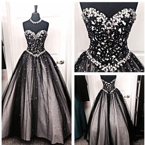 Formal dress sweetheart white and black prom dress a for Black and grey wedding dress